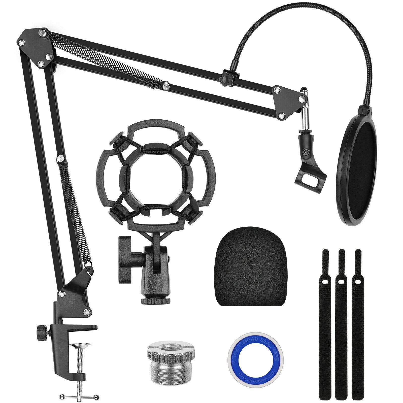 Condenser Microphone Kit Studio Pop Filter Boom Scissor Arm