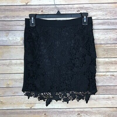 American Eagle Womens Lace Front Mini Skirt Ponte Stretch Knit Back Zip Black - Lace Front Mini
