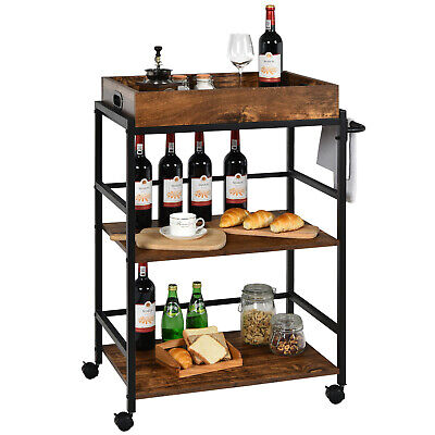 Costway 3-Tier Rolling Bar Cart Kitchen Serving Cart w/ Removable Tray Rustic
