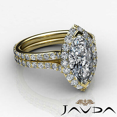 Halo Pave Set Marquise Cut Diamond Engagement Anniversary Ring GIA I SI1 2.36Ct 8