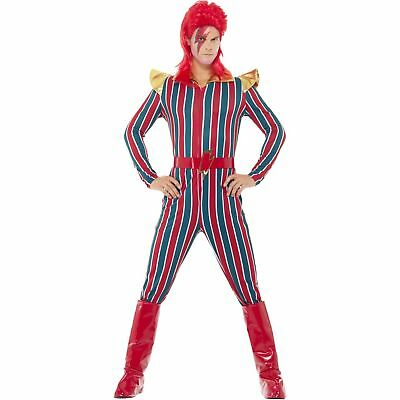 David Bowie Costumes (80s Space Superstar David Bowie Multi Colour Jumpsuit Mens Fancy Dress)
