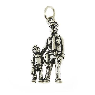 Policeman With Boys (925 Sterling Silver Policeman with Boy Charm Made in)