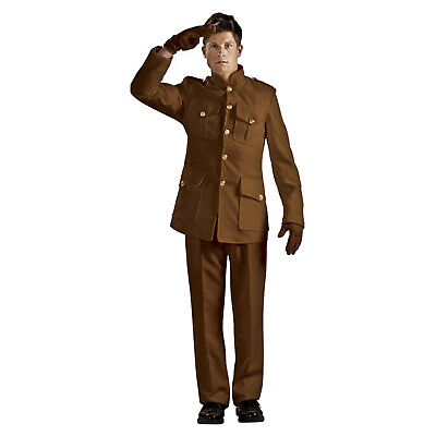 Men's World War I Soldier Costume Brown Military Reenactment Theatrical Quality - Theatrical Quality Costumes