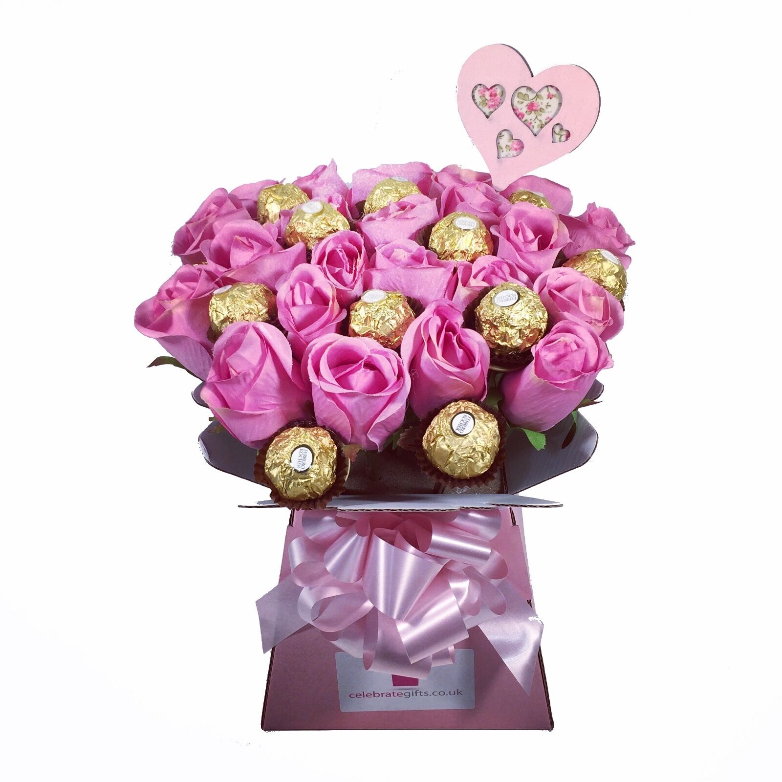 Luxury Ferrero Rocher/Lindt Lindor & Pink Silk Roses Chocolate ...