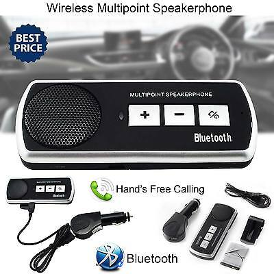 Slim Magnetic Wireless Bluetooth Handsfree Car Kit Speaker Phone Visor Clip UK