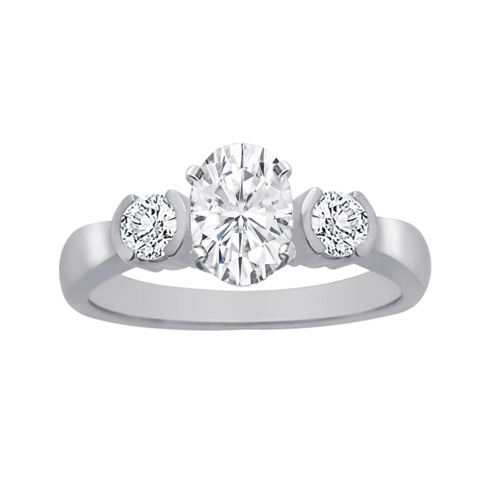 GIA Certified Diamond Engagement Ring 1.40 CTW Oval Shape 18k White Gold