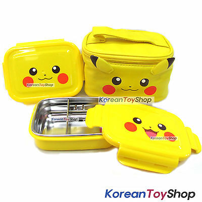 Pokemon Pikachu Stainless Steel Lunch Box 2 Tier Food Container Bento w/ Bag