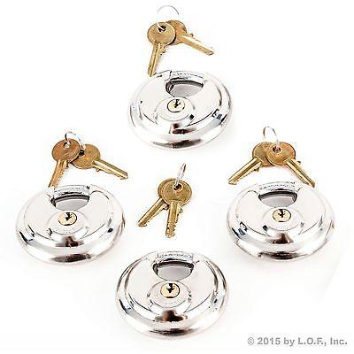 4 Armor Disc Padlock Trailer Brass Cylinder Storage Locks Stainless Keyed Same