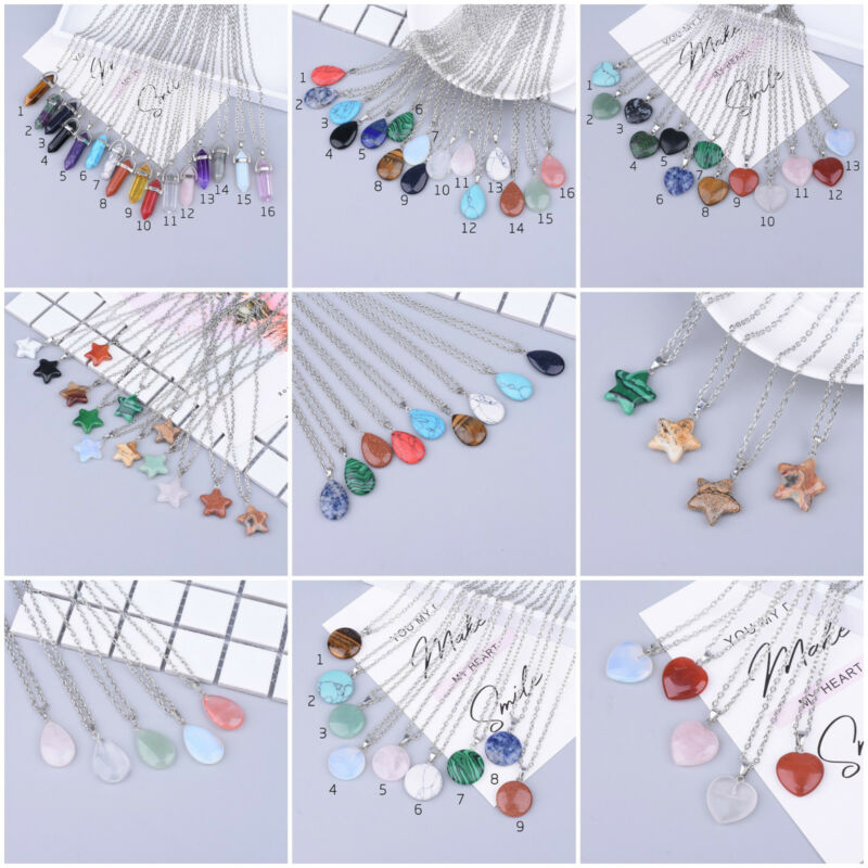 wholesale lot of 10 gemstone pendant necklaces bulk jewelry