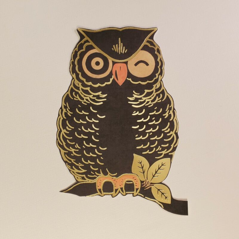 Retro Owl Decoration | Vintage Style | Halloween | Diecuts | Cutouts | Ephemera