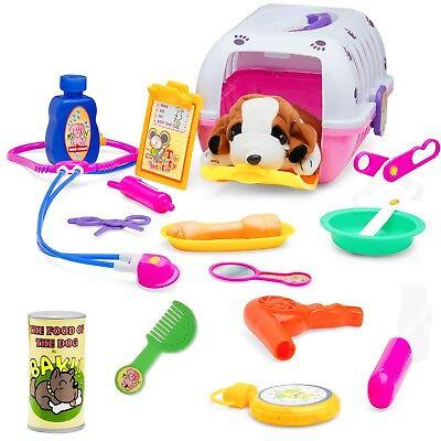 - Pet Vet Play Set For Toddlers & Kids Veterinarian Kit Toy W/ A Plush Dog,18 Pcs