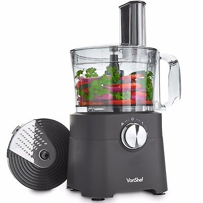 VonShef 8 Cup Food Processor Blender Chopper Multi Mixer Combo Attachments 500W