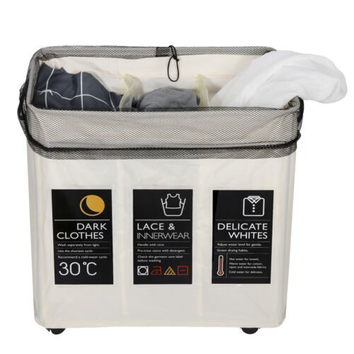 3 Section Laundry Sorter 3 Bag Laundry Hamper Cart with Rolling Lockable Wheels Home & Garden