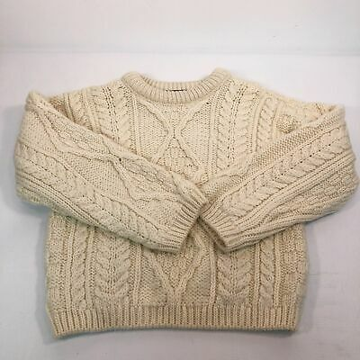 DISTRESSED Callan Fisherman Sweater Kid 6 Merino Wool Pullover Crew Neck Ivory