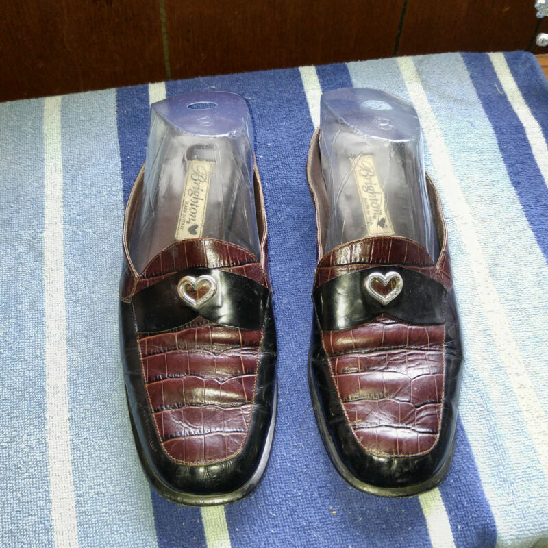 "Black/Brown Leather Brighton 8.5 Medium (B,M)  Mules - Low Heel 3/4-1-1/2"""