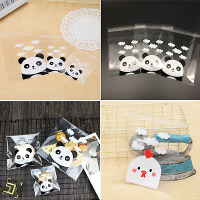(100pcs Panda Chicks Bags Cookie Candy Biscuit Packaging Self-adhesive Gift Bag)
