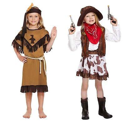 Cowgirl Kostüm Mädchen (Mädchen Modisch Wilder Westen Kostüm Cowgirl oder Indianer Age 4 -12 Jahre Neu)