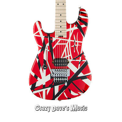 EVH Striped Series Left Handed Red Black and White Electric Guitar