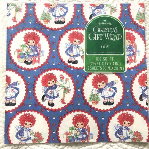 VTG Hallmark Christmas Gift Wrap Wrapping Paper Raggedy Ann
