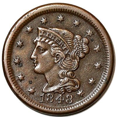 1848 N-35 R-2 MDS BRAIDED HAIR LARGE CENT COIN 1C