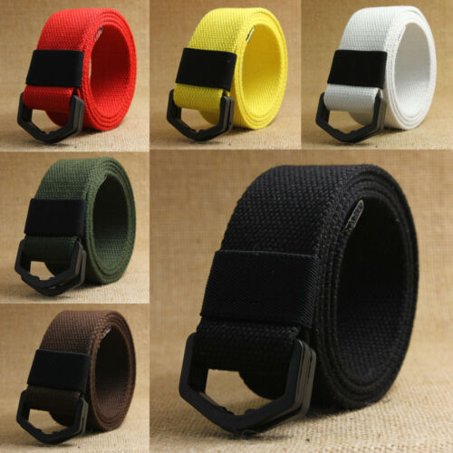 Unisex Lightweight Canvas Webbed Belt, Double Ring Plastic Buckle No Metal Parts