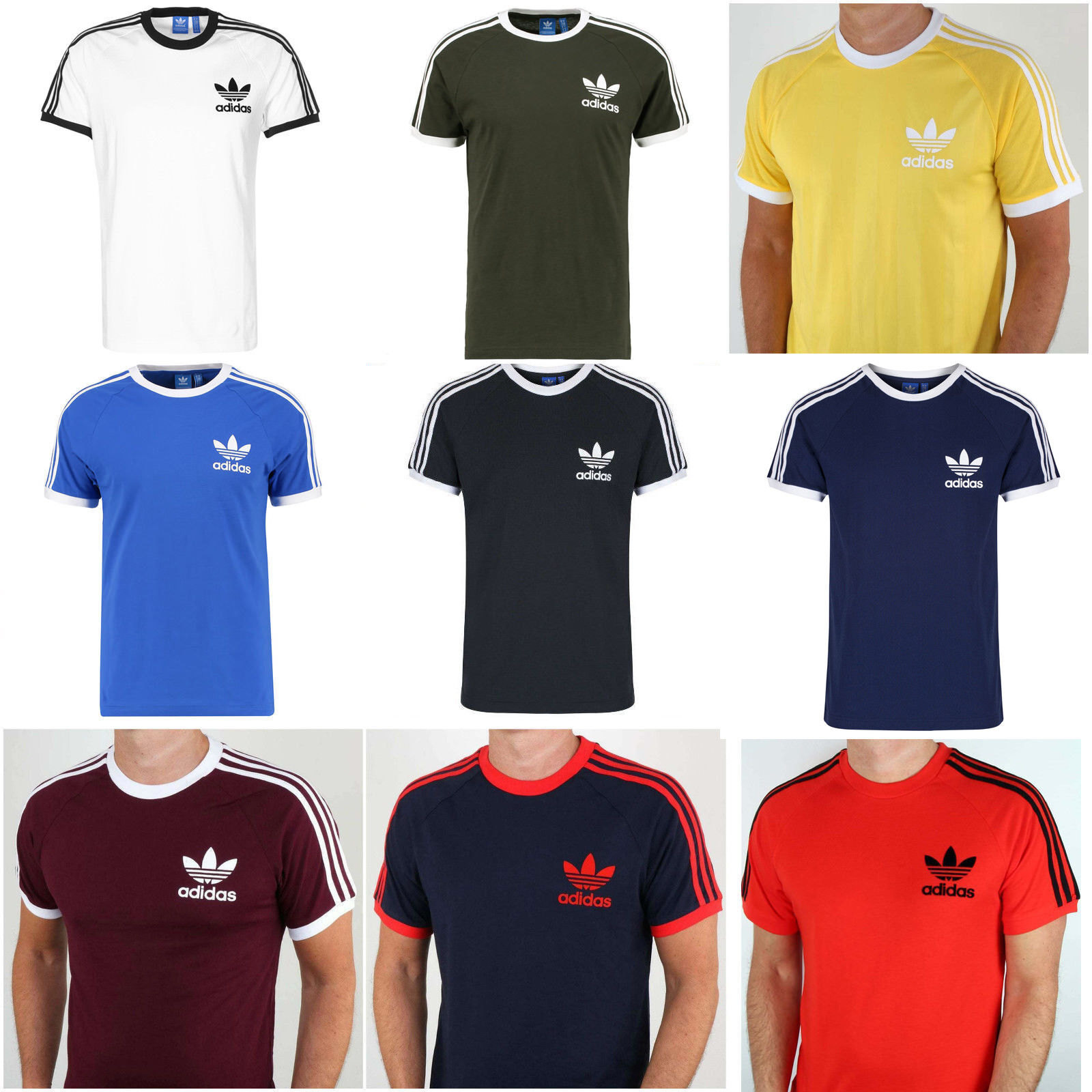Adidas Mens Trefoil California Tees Crew Neck Retro T-Shirt Tee Top Sale