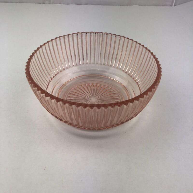 Pink Depression Glass Bowl Vintage