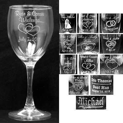 Set of 2 Personalized Wine Glasses Laser Engraved Wedding Party Custom Gifts (Custom Party Glasses)