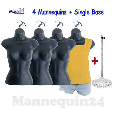 Mannequin Females - Lot Of 4 Black Womens Body Forms W4 Hangers 1 Stand