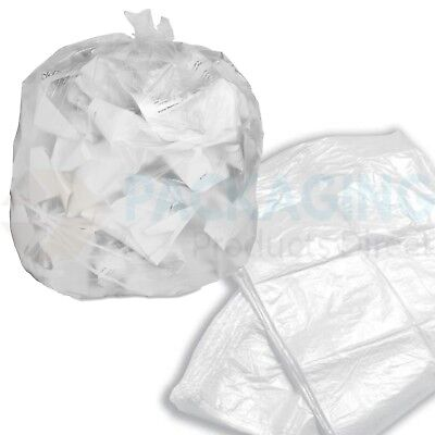 50 x Refuse Sacks CLEAR Bags Bin Liner Rubbish Waste Recycling Bags 18x29x39