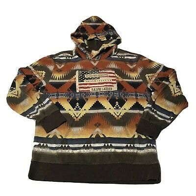 Ralph Lauren Denim & Supply Aztec Navajo Hoodie  Mayan Flag USA Men's XL