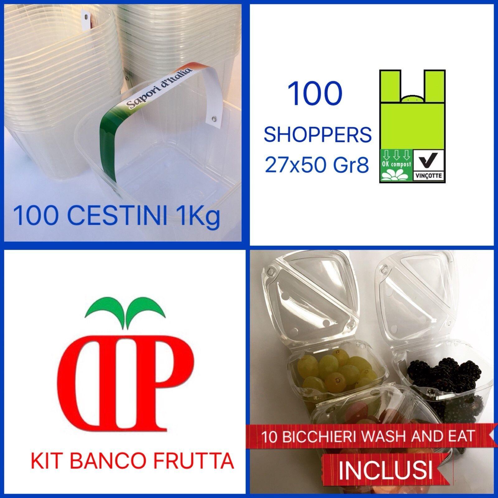 100 CESTINI PLASTICA PER FRUTTA DA 1KG CON MANICO+100 SHOPPERS BIO27x50 DA GR8