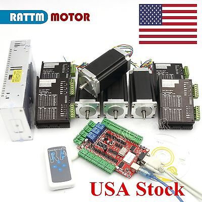 Us 4 Axis Nema23 Dual Shaft Stepper Motor 112mm 3adriver Usb Cnc Controller Kit