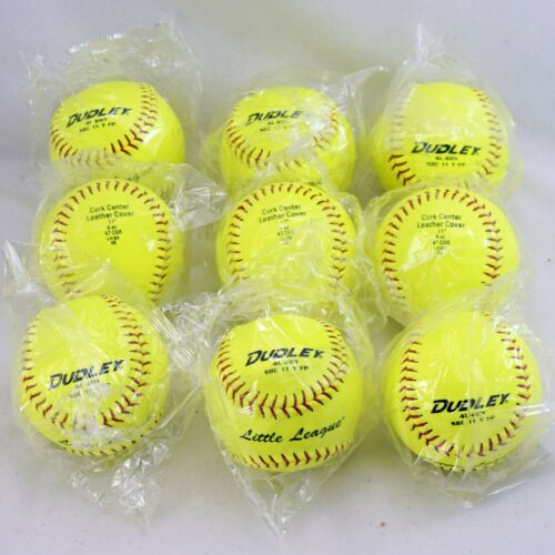 "Dudley 11"" SBC-11 Yellow Fast Pitch Leather Cork Softballs Softball Red Stitch"
