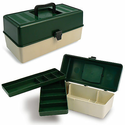 Fishing Box Supplies Accessories Tackle Gear Kit Bait Hooks 2 Moveable Trays NEW