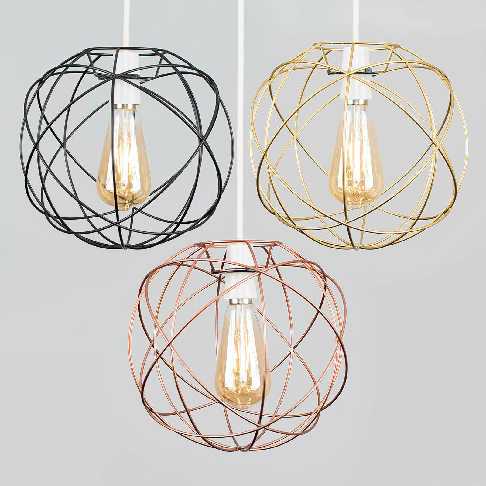 Geometric Sphere Led Ceiling Pendant Light Shades Black Copper Gold Lampshade