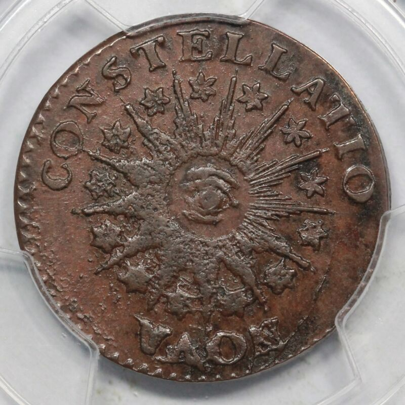 1785 C-3b Pcgs Ms 62 Bn Cac Pointed Rays Nova Constellatio Colonial Copper Coin