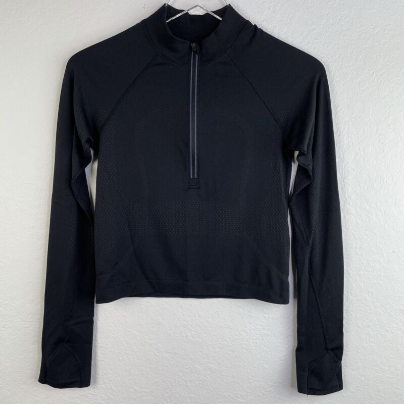 Lululemon Top Womens 6 Black Rest Less 1/2 Zip Pullover Womens Seamless Cropped
