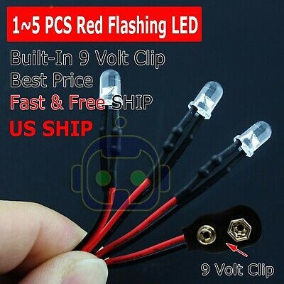 15 Lot Pre Wired 5mm Led 9 Volt Red Flashing On Snap 9v Prewired Blink Flashing