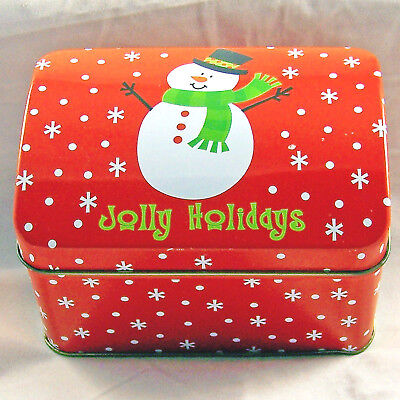 Xmas Tin Jolly Holiday Snowman Hinged Lid Can Box Chest Container Greenbrier