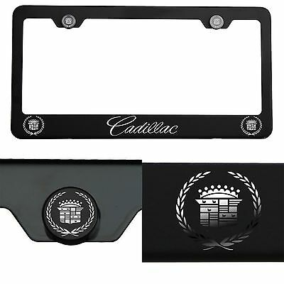 Laser Engraved Cadillac Mirror Matte Black License Plate Frame Stainless Steel
