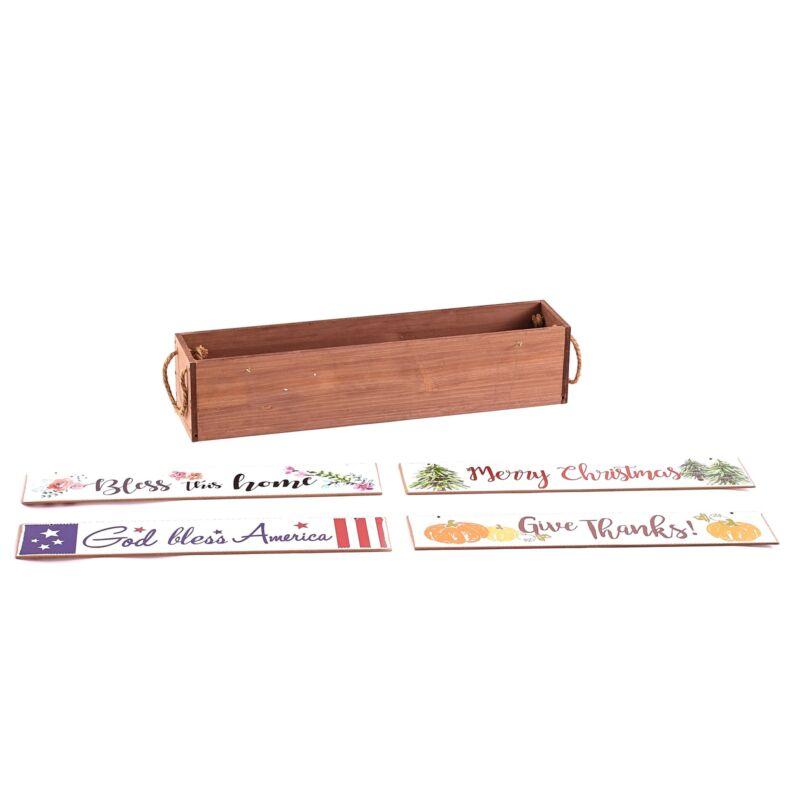 Interchangeable Tabletop Centerpiece with 4 Seasonal Sentiment Messages