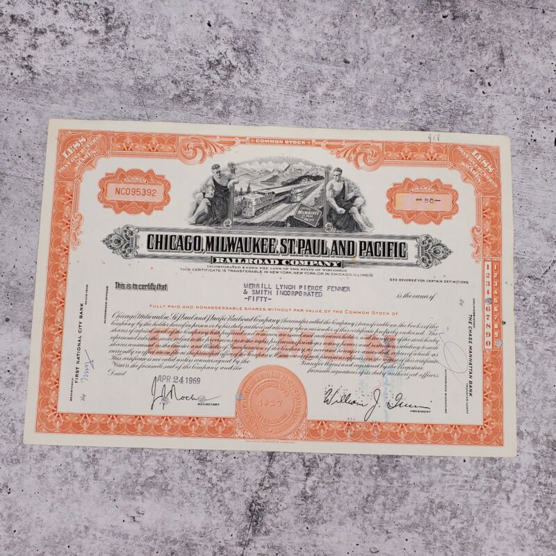 1969 Milwaukee Chicago Pacific 50 Share Railroad Stock Bond Certificate Merrill