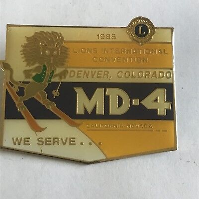 Older Lions Club International Pin MD 4 California Nevada- 1988 Denver Colorado