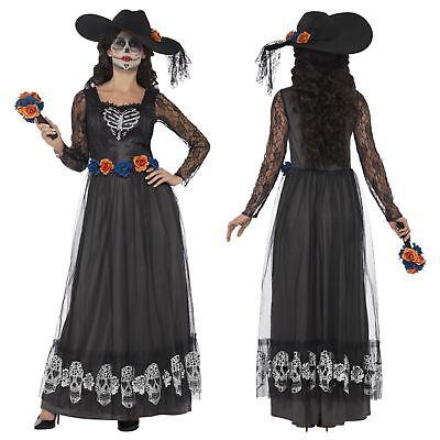 Damen Tag der Toten Skelett Braut Halloween Verkleidung Kostüm Outfit Erwachsene (Skelett Halloween Outfit)