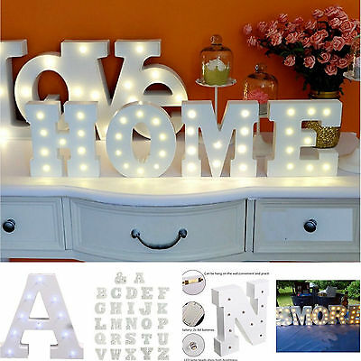 Wedding Party LED Light UP Standing Hanging White Wooden Alphabet Letters - Standing Letter Decor