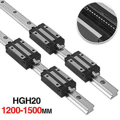 2pcs Hgh20 1200-1500mm Linear Slide Guide Shaft Rail4pcs Hgh20uu Block Us Stock
