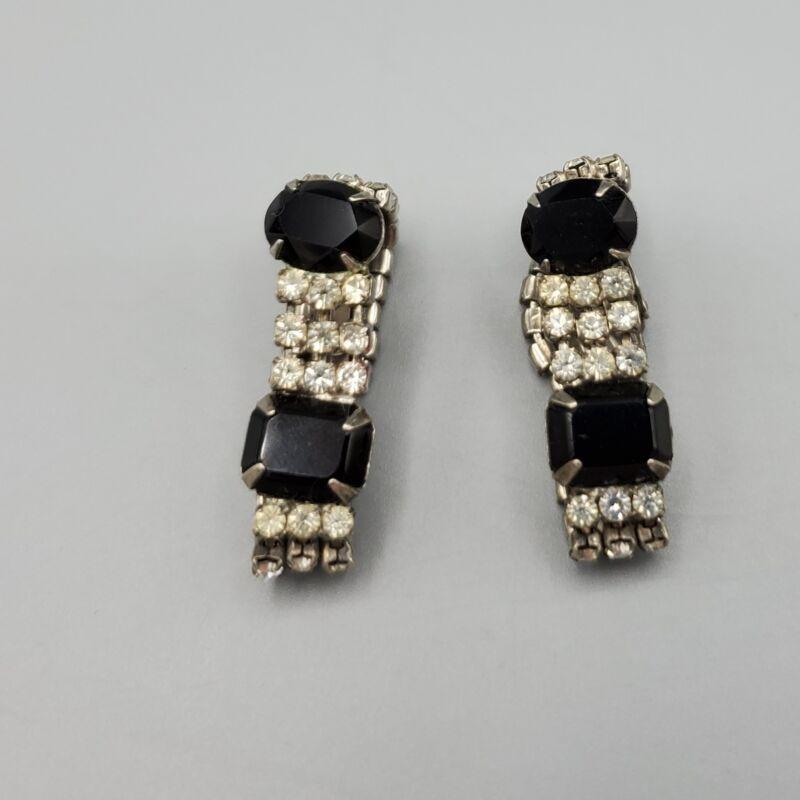 Vintage Art Deco Black and Clear Rhinestone Hoop Loop Wrap Clip Earrings