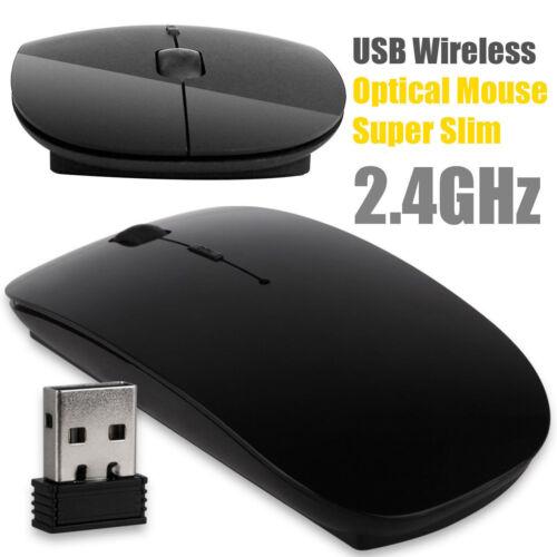 Black Optical Wireless Cordless Compact Standard Mouse Mice 2.4GHz Windows & Mac