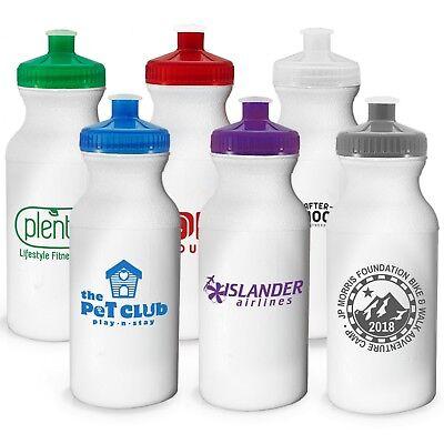 72ec5d2f82 100 Custom USA Made BPA Free Bike 20 oz Sports Water Bottle Printed w/ Logo  /Txt